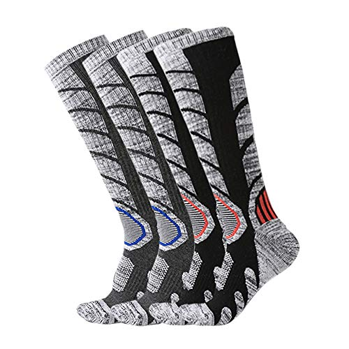XIKUN Ski Socks Men Women Warm Skiing Socks High Performance Outdoor Winter Sport Socks (Assortment Black X 1 Pair,Dark Grey X 1 Pair)