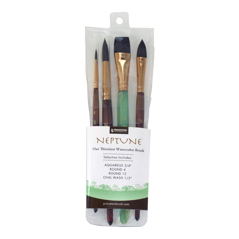 Princeton Artist Brush, Neptune Synthetic Squirrel, 4750 4-Piece Set 300 by Princeton Artist Brush