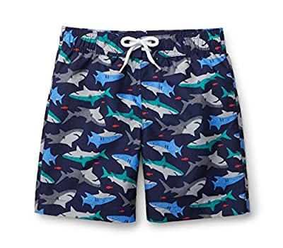 Hope & Henry Boys Navy Shark Print Swim Trunks