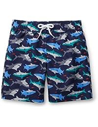Boys Navy Shark Print Swim Trunks