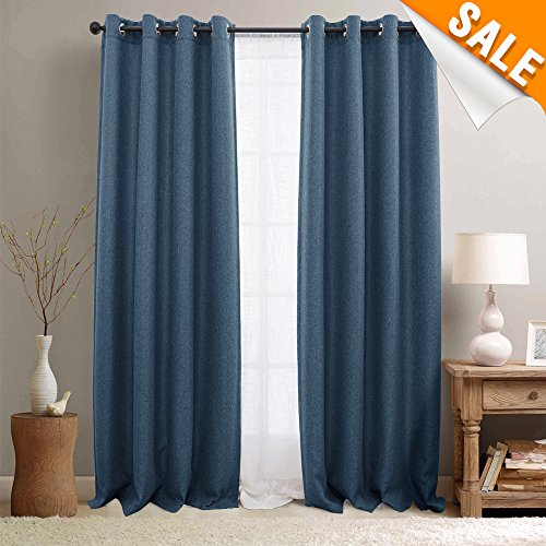 Blackout Curtains for Bedroom Linen Textured Window Curtain Panels for Living Room Grommet Top 2 Panel Pack 63-inch Denim Blue (Denim Curtain)