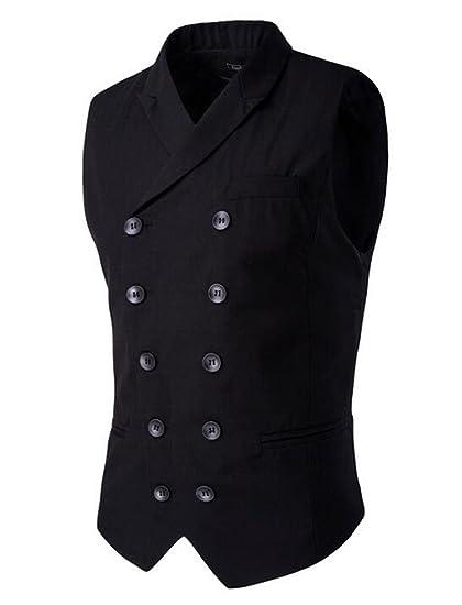 8db72a6e24e96 SoEnvy Men s Double-breasted Sleeveless Waistcoat Business Dress Suit Vests  M Black