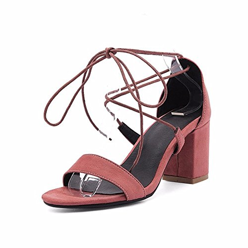 Heel Shoes Women's Sandals Round Party Head The eu41 Sand High Cross bean nbsp; Color Sandals Womens Thick And Mouth heeled For nbsp;euope Fish Sandals States With Women United Heeled High UqYdTwU