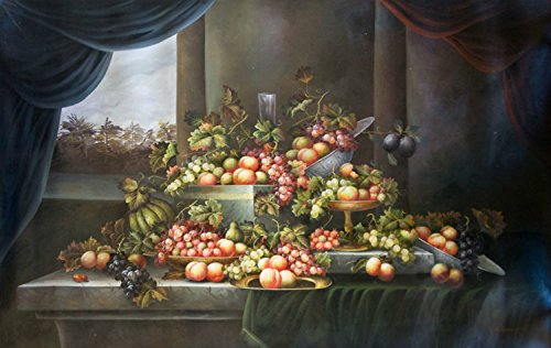 100% Genuine Real Hand Painted Classic Fruits Still Life with Curtain Canvas Oil Painting for Home Wall Art Decoration, Not a Print/ Giclee/ Poster ()
