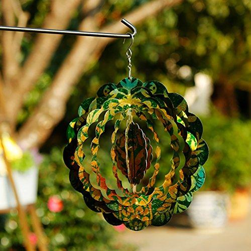 "CEDAR HOME Wind Spectrum Spinner Outdoor Hanging Metal Sculpture Garden Figurine Decor Art Ornament for Lawn Yard Patio 10"", Yellow Green Tattoo"