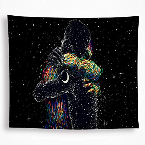 - All Smiles Black Love Tapestry Wall Hanging Galaxy Constellation Hippie Bohemian Star Moon Wall Art Décor for Bedroom Living Room 82.6 x59 Inches