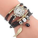 MEIbax watches Absolute Cheap Women Popular Quartz Watch Luxury Bracelet Flower Gemstone Wristwatch (Black)