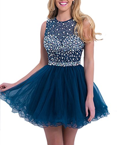 Emmani Women's Juniors Short Prom Dresses Beading Puffy Dress Girl Summer Party Dark Blue -