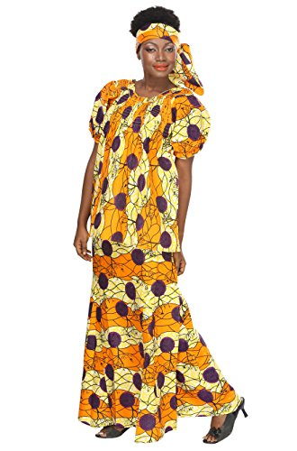 African Planet Women's Ethnic Yellow Kaftan Buba Blouse Skirt Headwrap Printed by African Planet