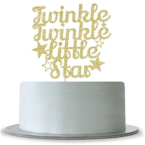 Twinkle Twinkle Little Star Cake Topper Gold Glitter Baby Shower, Baby First Birthday Party Decorations