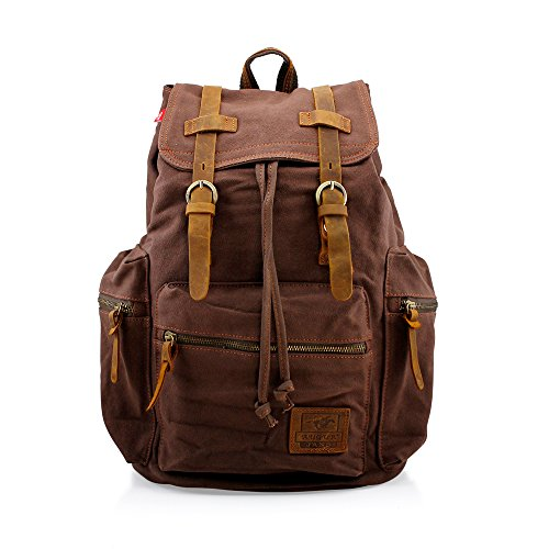 GEARONIC TM 21L Vintage Canvas Backpack for Men Faux Leather Rucksack Knapsack 15 inch Laptop Tote Satchel School Military Army Shoulder Rucksack Hiking Bag