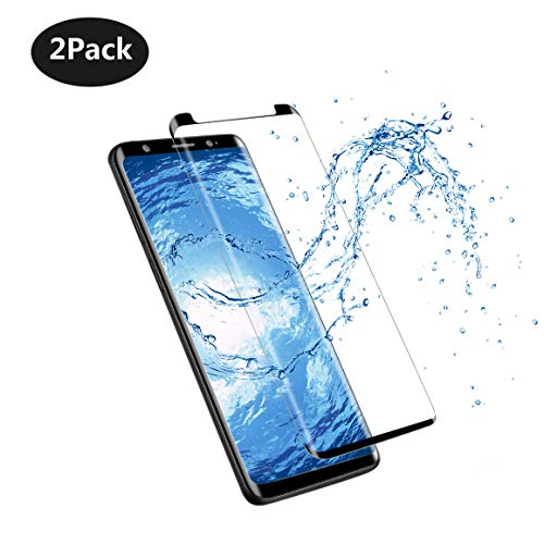 [2 Pack] Galaxy Note8 Screen Protector, [3D Curved Edge] Ultra Clear 9H Hardness Tempered Glass Screen Protector Bubble-Free Film for Samsung Galaxy Note 8 [Black]