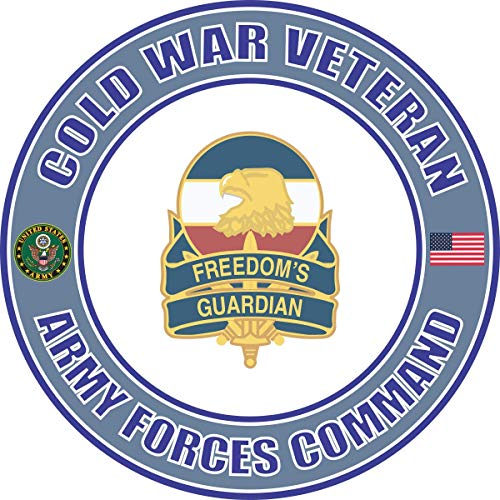 Military Vet Shop U.S. Army Cold War Forces Command Unit Crest Veteran Window Bumper Sticker Decal 3.8