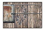 Collection Area Rug Wooden Tree Planks with Old Little Rusty Metal Boat Marine Door Print Brown and Grey Ideal Anti Slip 4'7'' x5'4