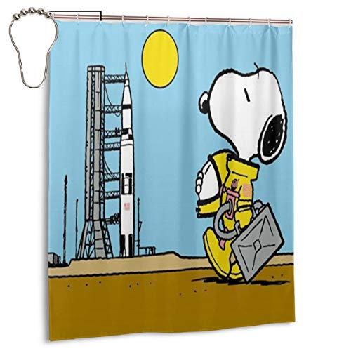 YANVCXRF Snoopy Astronaut Personalized Decorative Shower Curtain Bathroom Decorations Gifts for Men Women Boys Girls,60x 72 Inch (Gifts Personalized Snoopy)