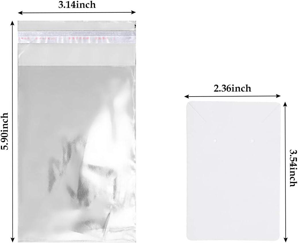 Bianco Litthing 100Pcs Display per Orecchini con Sacchetti Autosigillanti Carta Kraft Preforati Scheda Orecchino per Display con Buste Autoadesive per Orecchini Borchie Collane