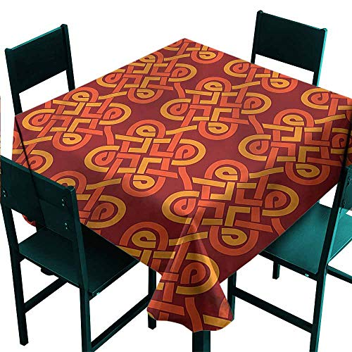 Tidefree Celtic Stain-Resistant Tablecloth Old Pattern Celtic Knot Waterproof/Oil-Proof/Spill-Proof Tabletop Protector W63 x L63