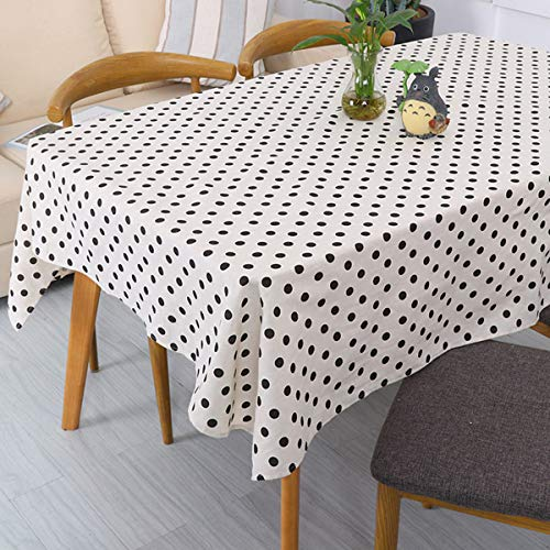ICBAL Black White Table Cloth Kitchen Dining Outdoor Table Décor Rectangle Cotton Linen Fabric Tablecloths for Parties Dot 55