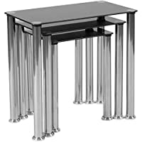 Flash Furniture Riverside Collection Black Glass Nesting Tables with Stainless Steel Legs
