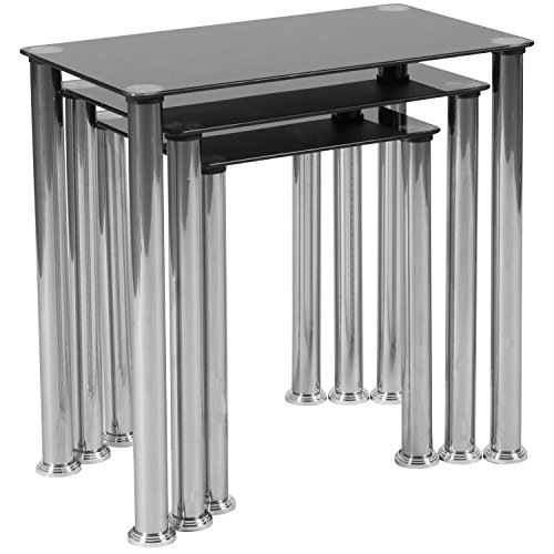 Flash Furniture Riverside Collection Black Glass Nesting Tables with Stainless Steel ()