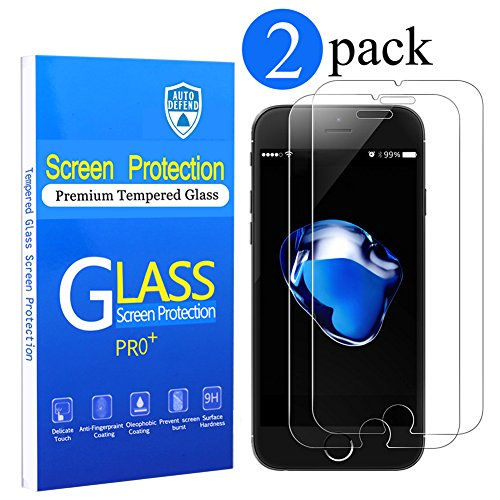 Price comparison product image [2 Pack]iPhone 7 Screen Protector, Auto Defend[0.3mm Thickness Ultra Thin] [3D Touch Compatible] Tempered Shatterproof Glass Screen Protector for iPhone 7 4.7-inch(2 Pack)