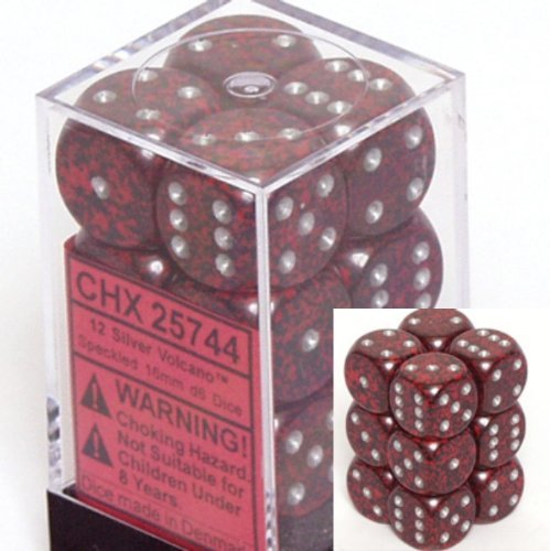 Chessex D6 Speckled - Silver Volcano Speckled D6 16mm 12 Piece Set