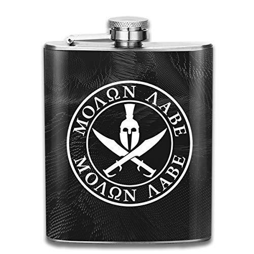 Spartan Warrior Molon Labe Hip Flask Pocket Stainless Steel Flask,7 Oz