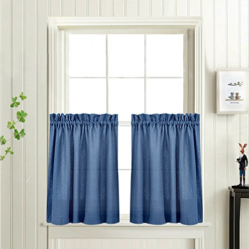 Kitchen Curtains 24 Inches Long Semi Sheer Casual Weave Cafe Curtains Short Kitchen Curtains Tiers Privacy Half Window Curtain set (72