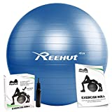 Reehut Anti-Burst Core Exercise Ball with Pump & Manual for Yoga, Balance, Workout, Fitness - 55cm 65cm 75cm