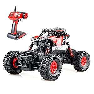 Gizmovine RC Rock Crawler 4WD 4 Modes Steering Waterproof 2.4Ghz Radio Control Toy Monster Truck Off Road (1/16 Scale) Red ZC0005-U1