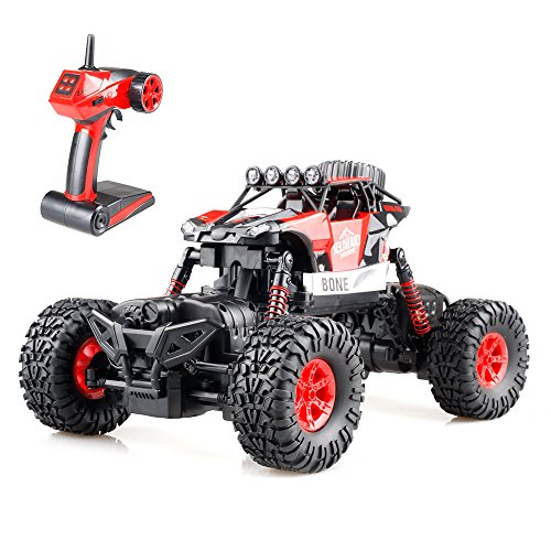 Gizmovine RC Rock Crawler 4WD 4 Modes Steering Waterproof 2.4Ghz Radio Control Toy Monster Truck Off Road (1/16 Scale) Red ZC0005-U1 (Waterproof Trucks Rc Cheap)