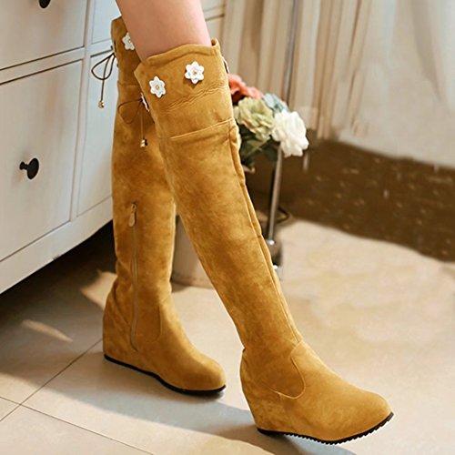 AIYOUMEI Damen Kelabsatz Overknee Stiefel mit Blumen und 6cm Absatz Winter Keilstiefel Gelb