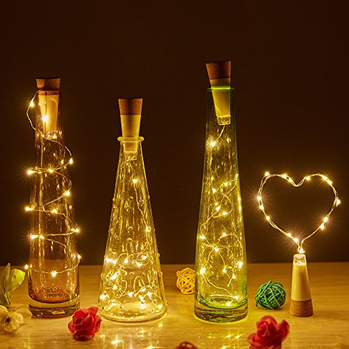 COSOON 4 PCS Wine Bottle Cork Lights, USB Powered Rechargeable Copper String Lights - 15LED 28Inch Wire String Lights for Bottle DIY, Wedding, Halloween, Christmas, Party Decor (USB Warm White) T014