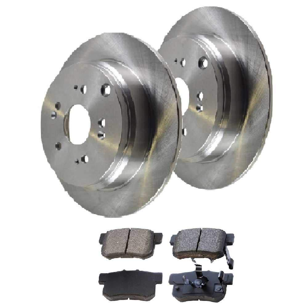 Rear set 3 Pieces Prime Choice Auto Parts BRKPKG003593 1 Ceramic Brake Pad 2 Silver Drilled And Slotted Performance Brake Rotors