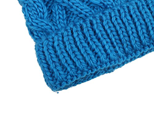Younglove Soft Winter Cable Knit Pom Pom Beanie Winter Hat Cap For Boys/Girls,Sky Blue by YoungLove (Image #3)
