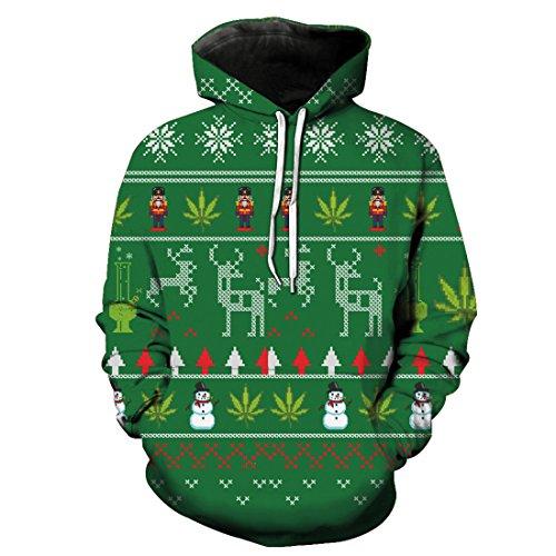 Sweatshirt con Motivo lunga Acvip cappuccio stampato Maglione 3 Manica Unisex Style Top Natale fq5g5xt
