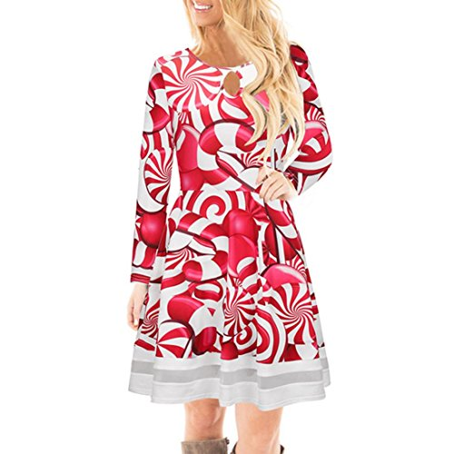 Mujer Navidad Christmas Impreso Cordón Vestir, WINWINTOM Chicas Casual Manga Larga Mini Vestido Estilo6