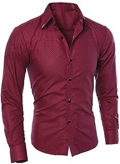 Moda Uomo Camicetta Stampata Camicia Lunga Manica Tinta Unita Skinny Tinta Lung