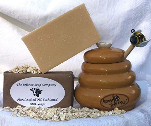 - Handcrafted Old-Fashioned Simple Milk Soap, Honey Oatmeal Scent, 100% All Natural By The Solanco Soap Company
