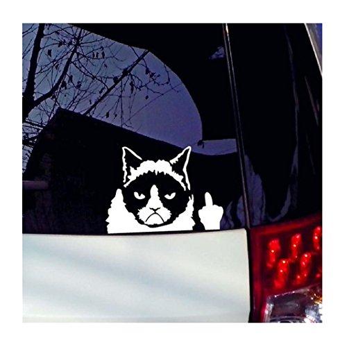Iuhan Grumpy Cat Funny Car Sticker Vinyl Art Graphics Decals For Car Bumper Window (white)
