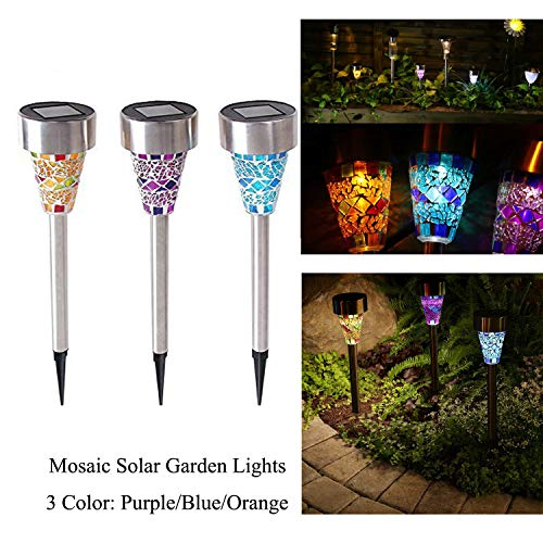Solar Powered Led Mosaic Glass Garden Stake Lights in US - 4