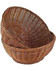"Wicker Woven Serving Baskets for Bread Fruit Vegetables, Restaurant Serving & Tabletop Display Baskets 12"" Round (2)"