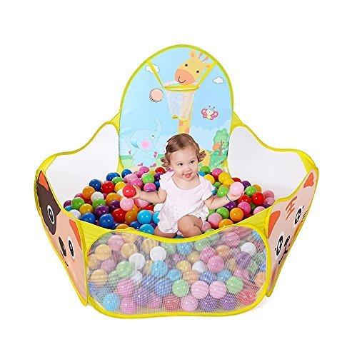 Da.Wa 1 Pcs Hexagonal Polka Dot Tienda de Juegos de Pelota para Niños Juguetes al Aire Libre Piscina de Bolas Portátil con Canasta