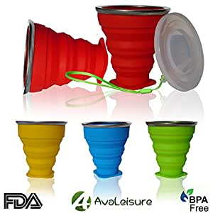 AvaLeisure COLLAPSIBLE TRAVEL CUP, the Genuine 10oz Drinking Mug with Lid, Certified BPA Free Silicone, Water, Coffee, Tea & Snacks for Hiking, Camping, Picnic & Commuting to Work