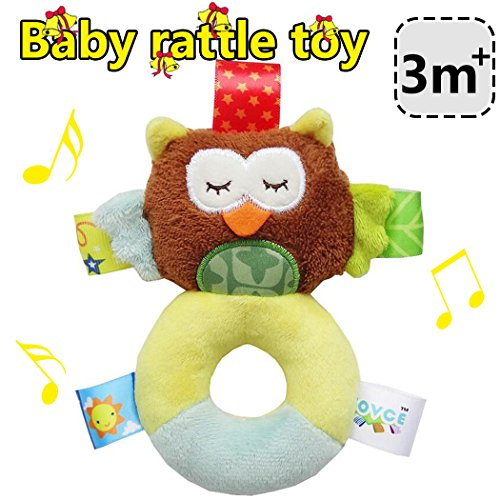 ZLFT Plush Animal Baby Plush Toy 3-24 months Developmental Interactive Toy Infant Baby Development Soft Animal Handbell Rattles Handle Toys For Crib High Chair And Interactive Playing (Owl)