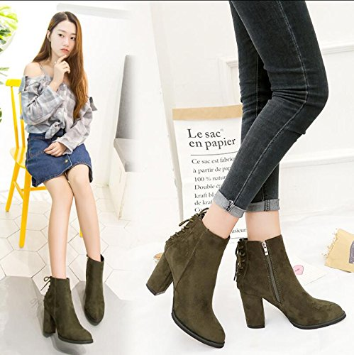 KHSKX-Tip Thick With High-Heeled Shoes Boots And Shoes Martin Short Spring And Autumn And Winter The Rear Strap Satin Single Boots 39 vsdy2A
