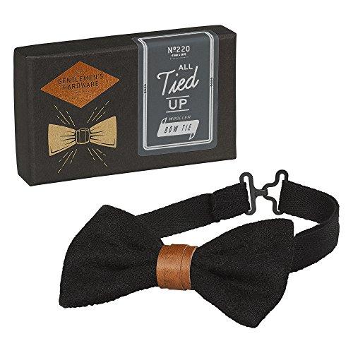 Gentlemen's Hardware Woollen Adjustable Pretied Bow Tie (Black)]()