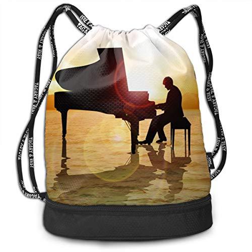 Bulk Drawstring Backpack, Lightweight Gym Sport Bundled Bag Wet Dry Separated Yoga String Cinch Tote Bag Multipurpose Casual Bag For Adult Kids - Piano]()