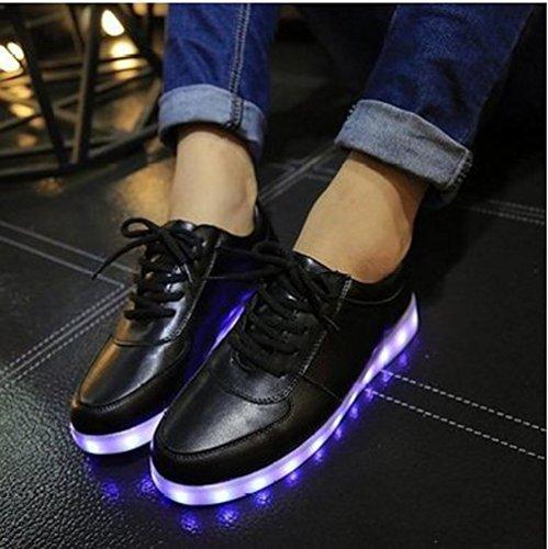 [Presente:peque?a toalla]Negro EU 43, Mujer de Zapatos Zapatillas LED manera J