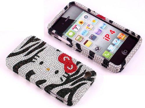 Smile Case Hello Kitty Zebra Design Bling Rhinstone Crystal Jeweled Snap on  Full Cover Case for 12ae1425ade6